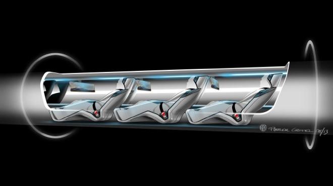 Kapsuła z pasażerami na pokładzie hyperloop