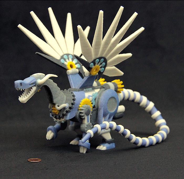 Steampunkowe figurki dinozaurów i smoków