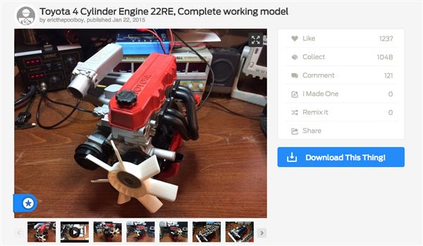 Wydrukowany model silnika czterocylindrowego Toyota 22RE-1