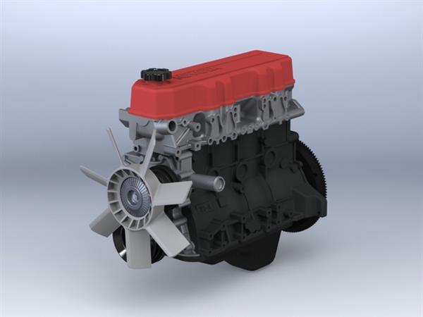 Wydrukowany model silnika czterocylindrowego Toyota 22RE-2