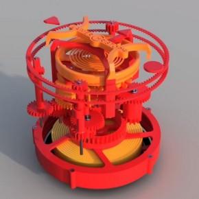 Wydrukowany 3D zegar z tourbillonem