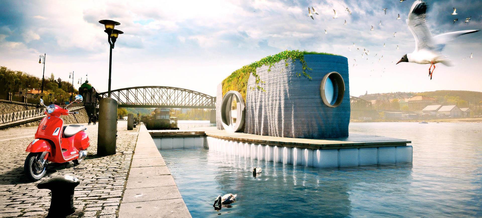 Czeski wydrukowany dom pływający na barce
